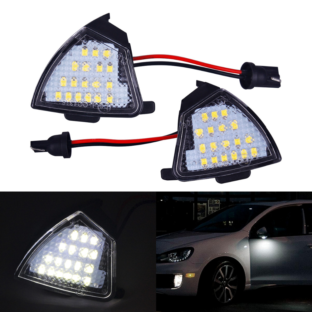 2xCar-styling LED Under Side Mirror Puddle Lights Turn Signal Lamp No Error for Volkswagen VW Golf 5 MK5 MKV Passat B6 Jetta Eos 2pcs white under led side mirror puddle light lamp for vw golf gti mk6 6 mkvi 2010 2014