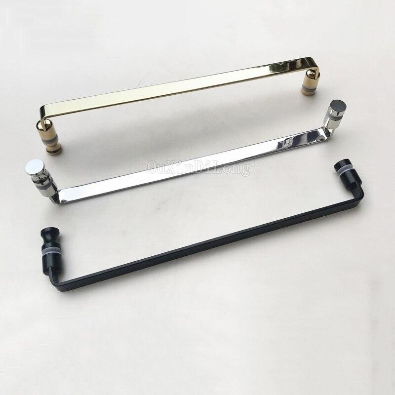 Brand New 304 Stainless Steel Frameless Shower Door Handles Bathroom Glass Door Handles Polish Chrome/Gold/Dumb Black for 6~12mm