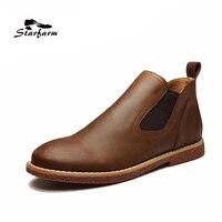 2016 Chelsea Boots Men Winter Autumn Shoes Ankle Genuine Leather Black STARFARM Sfwb008