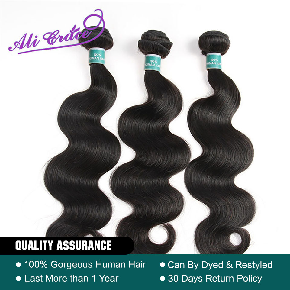 ALI GRACE Hair Peruvian Body Wave Hair 3 Pcs Human Hair Bundles Remy Hair Extention Natural Color 10-28 inch(China)
