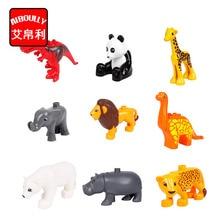 Animal Zoo Large Building Blocks Enlighten Child Toys Lion Pig DIY Set Brick Compatible With Duploe