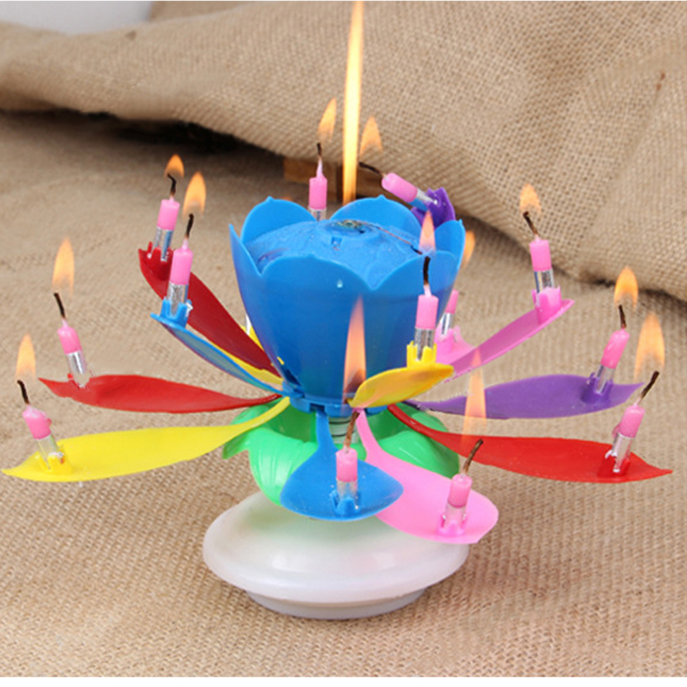 Behokic Music Birthday Candle Multi Colors Musical Lotus Flower Rotating Happy Birthday Candle with 14 Candles Party Cake Decor