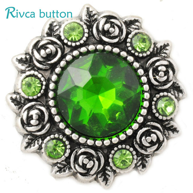 D02810 Newest High Quality Rose styles 18mm Metal Snap  Charm Rhinestone Styles  rivca Snap  Jewelry