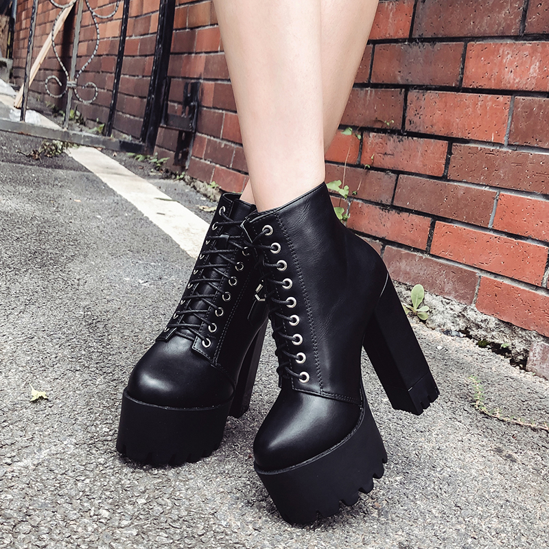 Image 5 - Gdgydh Women Lacing High Heel Ankle Boots Platform Female Boots Shoes Buckle Round Toe Ladies Party Shoes Rubber Sole Promotion-in Ankle Boots from Shoes