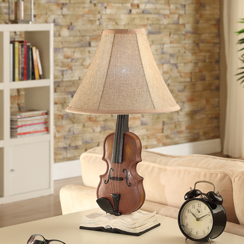 Popular pastoral warm male girl room bedroom table lamp creative decorative lamp are children violin table lamp ya814