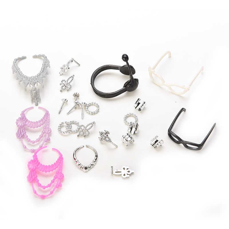 Heißer Verkauf Zubehör für Mini Mädchen Puppe Set von Modeschmuck Halskette Ohrring Bowknot Crown Zubehör Puppen Kinder Geschenk