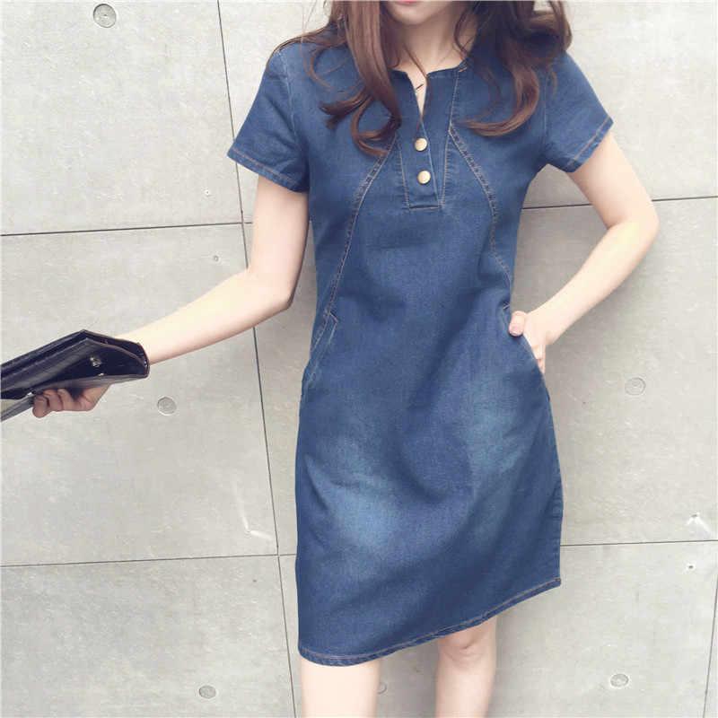 Плюс размер 5XL джинсовое платье для женщин Летнее Новое повседневное джинсовое платье с карманом на пуговицах сексуальное джинсовое мини женская одежда платье