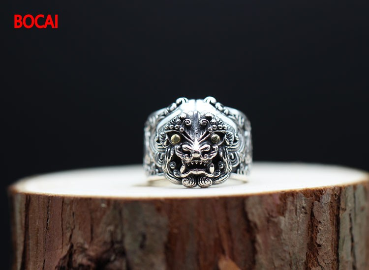 Retro domineering Tang lion opening 925 silver ring personality men and women sterling silver to do the old Lucky transport brav retro personality demons ghosts and demons men s 925 silver ring