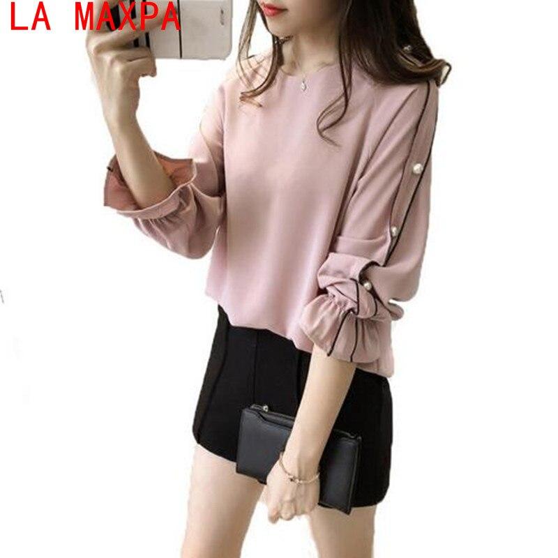 2019 New Spring Chiffon   Blouses     Shirt   4XL Plus Size Korean Women Tops Beading Long Sleeve Casual Ladies   Blouse     Shirts   Linglish