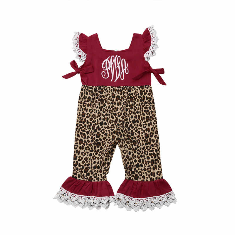 07073b8277af Hot Sale Kids Baby Girls Clothes Fly Sleeve Lace Leopard Romper Jumpsuit  Summer Casual Patchwork Girls Loose Outfits Clothes