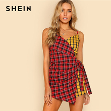 SHEIN Two Tone Plaid Wrap Cami Romper V neck Spaghetti Strap Sleeveless Women Checked Playsuits Casual Patchwork Cotton Romper