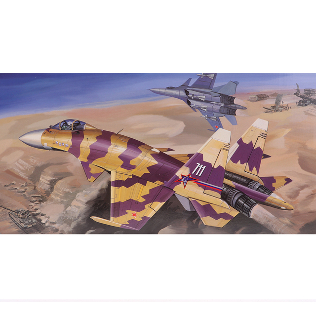 US $24 0 41% OFF|1:144 Scale Fighter Aircraft Model Kit Soviet Sukhoi Su 37  Airplane Puzzle-in Model Building Kits from Toys & Hobbies on