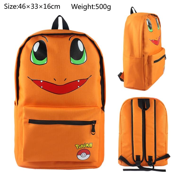 Pocket Monster Pokemon Charmander cartoon backpack canvas Shoulder Bag students schoolbags packsack