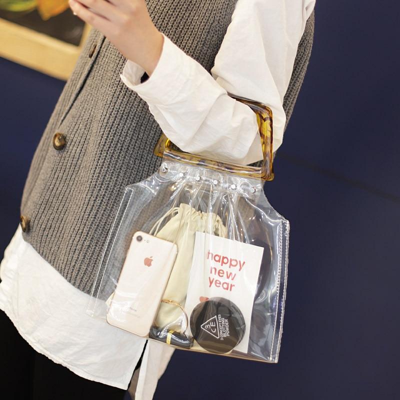 Women Fashion PVC Clear Tote Bag Brand Designer Popular Plastic Handle Summer Beach Handbags Transparent Jelly Bag Handbag