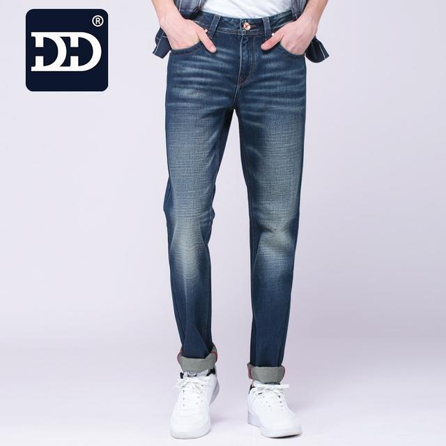 Calças de Brim Dingdi Motociclista Magro Dos Homens Jeans Slim Fit Jeans Lavados homens Calças Jeans Calças de Brim Dos Homens 29-38 Tamanho Hombre
