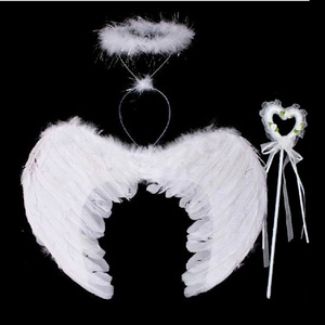 Feather Angel Fairy Wings Wand Halo 3Pcs Set Halloween Party Fancy Dress Costume Newest(China)