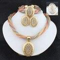 Conjuntos de jóias de casamento de cristal de noiva colar brincos Pulseira anel platsd dubai ouro africano mulheres conjuntos de jóias 3