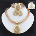 Jewelry sets wedding crystal  bridal african gold platsd necklace earrings Bracelet ring dubai women sets jewelry 3