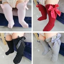 Новые однотонные нескользящие носки с бантом новые мягкие хлопковые кружевные детские носки до колена с большим бантом для маленьких девочек