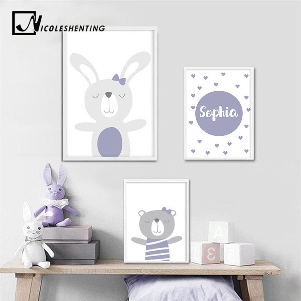Us 3 41 39 Off Custom Name Poster Baby Nursery Wall Art Canvas Poster Cartoon Prints Painting Nordic Kids Decoration Picture Girl Bedroom Decor In