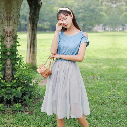 2019 Японский Школьный стиль; Лето Женское милое платье с открытыми плечами джинсовое Сетчатое платье с бисером элегантное милое платье принцессы Kawaii