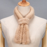 Real mink fur scarves for women autumn winter new style beige gray black knitted fur wraps T10