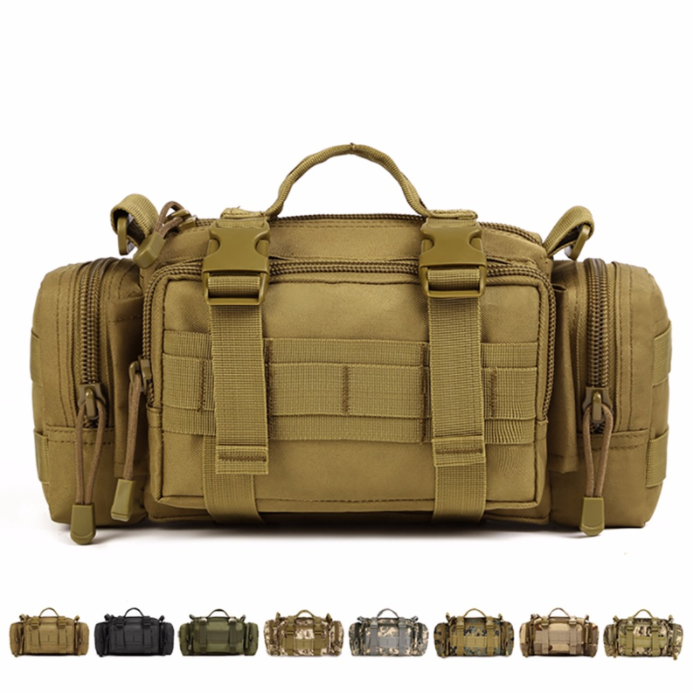 1000D Durable Nylon Military Assault Molle Waist Fanny Pack Vintage Men Travel Messenger Shoulder Bag Water Bottle/Kettle Bags