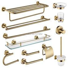 SUS 304 Stainless Steel Bathroom Hardware Set Brushed Gold Paper Holder Towel Ring Toilet Brush Bronze