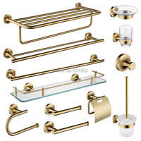 Sus 304 aço inoxidável conjunto de ferragem do banheiro escovado ouro suporte de papel titular anel toalha titular escova toalete titular bronze escovado