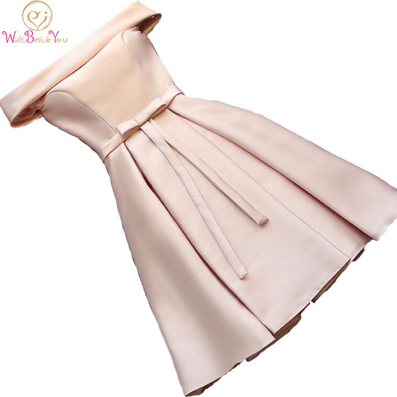 Real Picture Champagne Bridesmaid Dresses Pink Blue Short Satin Knee Length Party Prom Dresses Robe De Mariage Cheap Custom Made