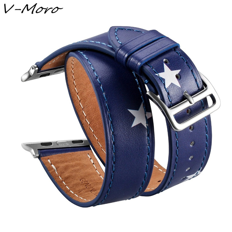 V-MORO 2018 New For Apple iWatch Bands Leather Double For Apple Watch Band Watch Strap For Apple Watch Series 3 2 1 Sport Hermes lord foresta umbra moro 50x50