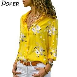 Женские блузки с длинным рукавом 2019, плюс размер, отложной воротник, блузка, рубашка, повседневные топы, элегантная рабочая одежда, шифоновы...