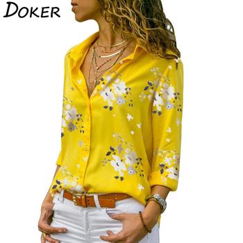 Bluzki damskie z długim rękawem 2019 Plus rozmiar skręcić w dół kołnierz bluzka koszula Casual topy elegancka odzież do pracy szyfonowe koszule 5XL tanie i dobre opinie doker Poliester REGULAR Drukuj WOMEN Pełna women blouse Przycisk Szyfonowa Na co dzień 6 Colors S M L XL XXL 3XL 4XL 5XL