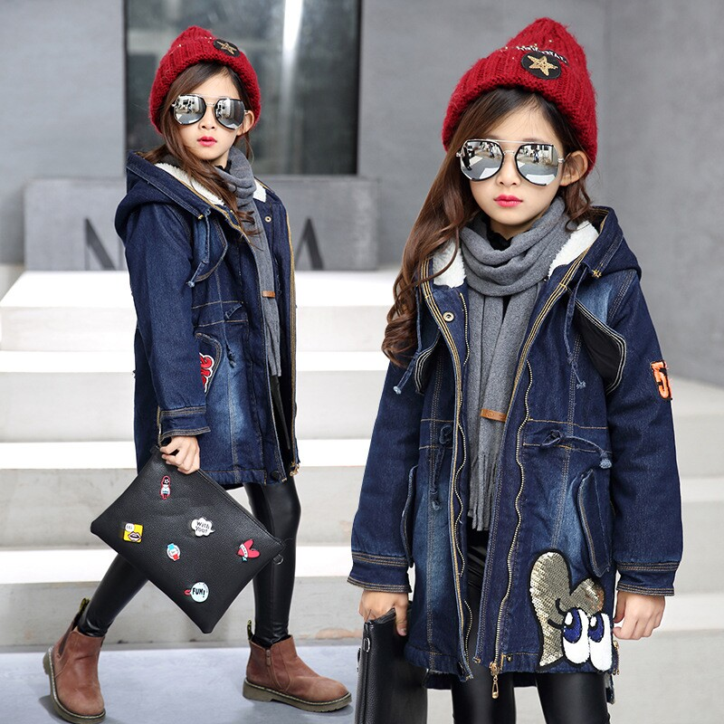 girls winter jackets kids parka Thickern Sequins Lambswool children denim jacket hooded coat for teenage girl warm clothes 4-13Y