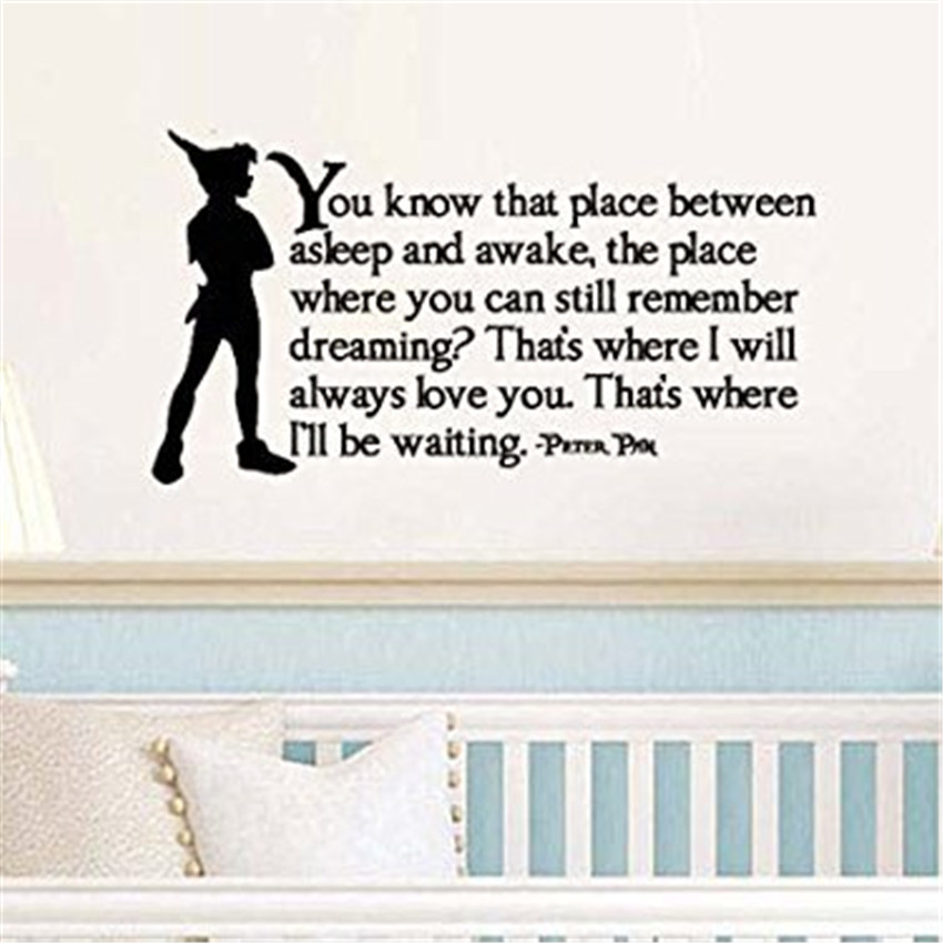 Peter Pan Inspired That Place Between Asleep and Awake Vinyl Wall Decal Sticker Kids Room Wall Stickers #M116