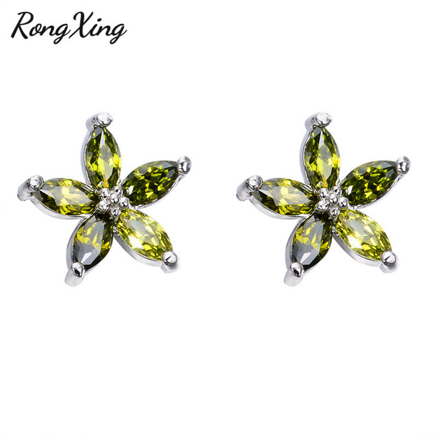 Rongxing 925 Sterling Silver Filled Olive Green Star Zircon Stud Earrings For Women Vintage Fashion Birthstone