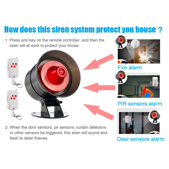 DIY Loud 110dB Simple setting Live Sound Alarm 12V Wireless Home Alarm Siren System Garage Burglar Alarm Security System