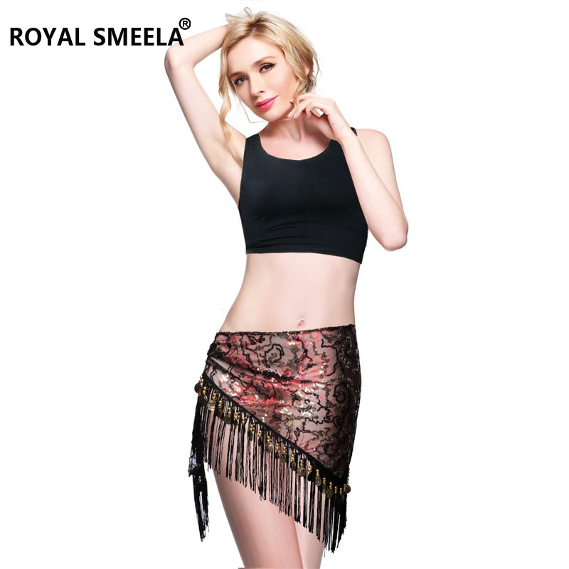 ROYAL SMEELA Belly Dance Hip scarf Costume For Women Dance Wraps Skirt Flamenco Gypsy Gold Silver Coin Triangle Hips Scarves Flamenco Bellydance Clothes