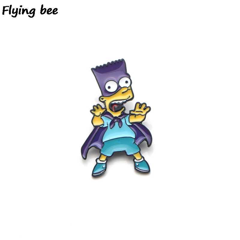 Flyingbee ブローチ漫画エナメル女性のための男性バックパックバッジ人格帽子ピン子供ピンチャームジュエリー X0157