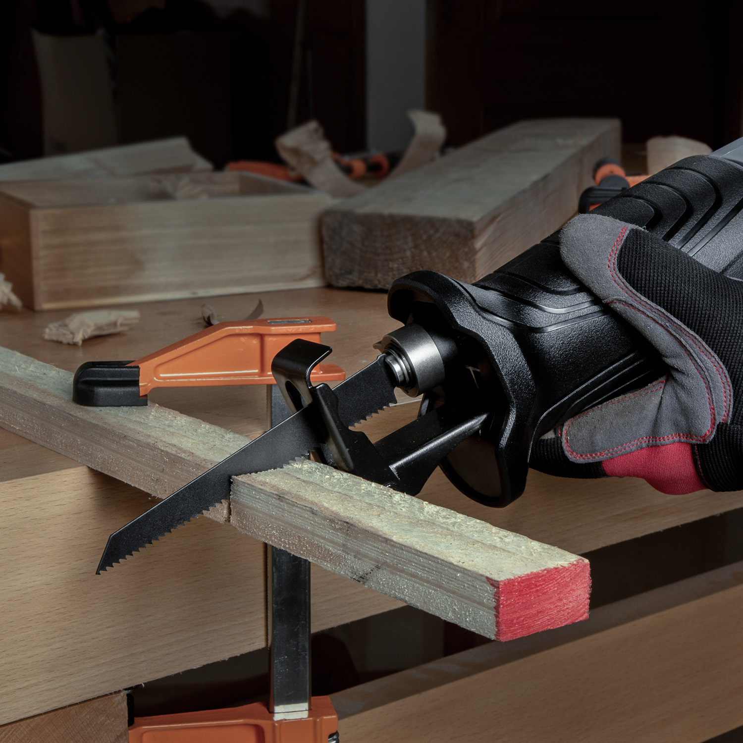 WORKPRO Electric Reciprocating Saw Cutting Wood