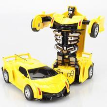 RCtown Мини мультфильм деформация крушение PK автомобиль инерционная Трансформация Роботы игрушки для детей zk25