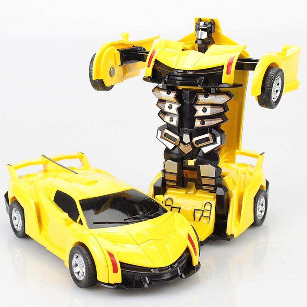 RCtown Mini Cartoon Deformation Crash PK Car Inertial Transformation Robots Toys For Children Zk25