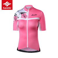SANTIC Women Cycling Jersey 2018 New Summer Reflective Safety Cycling Jerseys Anti sweat Short Sleeve Female Pro Bicycle Clothes