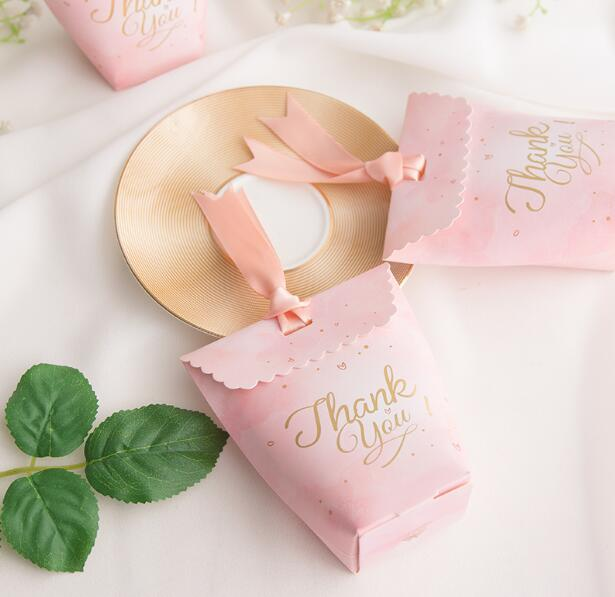 100 X Pink Thank You Gift Bags Wedding Favors Candy Boxes Bomboniera Party Supplies Gift Box Sachet Candy Bags-in Gift Bags & Wrapping Supplies from Home & Garden    1