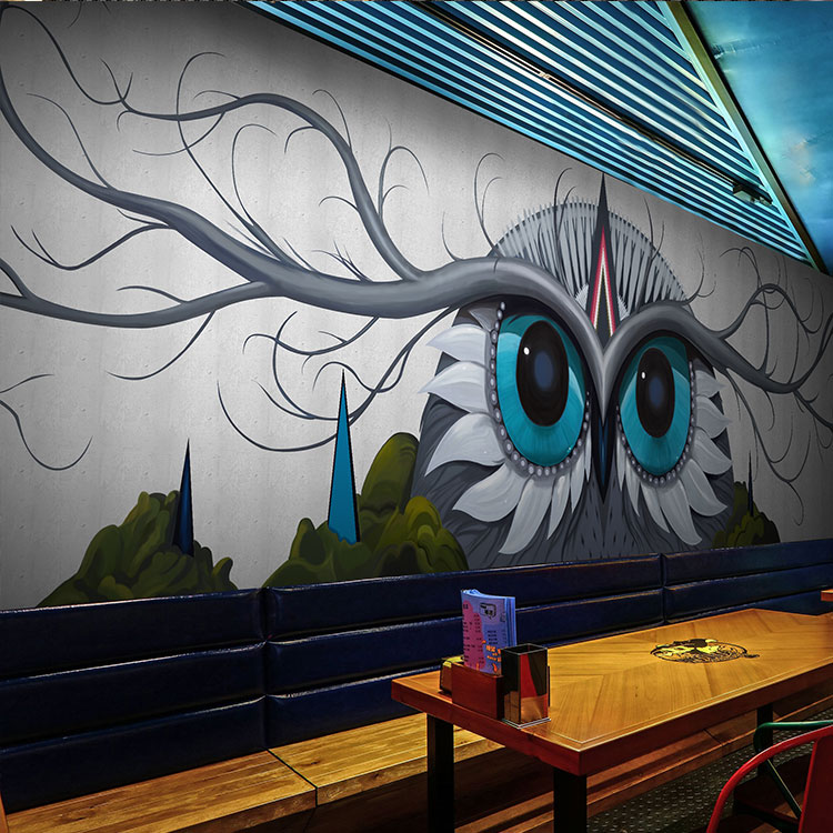 Free Shipping 3D abstract Owl watercolor wallpaper mural clothing store restaurant KTV bar club wallpaper