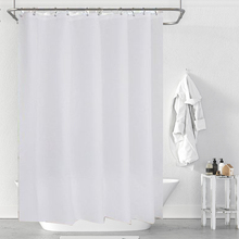 12 Pcs Hooks Polyester Fabric Shower Curtain With Waterproof Plastic Bath Screens Solid Color Eco-Friendly Bathroom Curtains