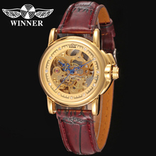 relojes mujer WINNER automatic watch women brand design with gold color dial deep red leather WRL8011M3G2