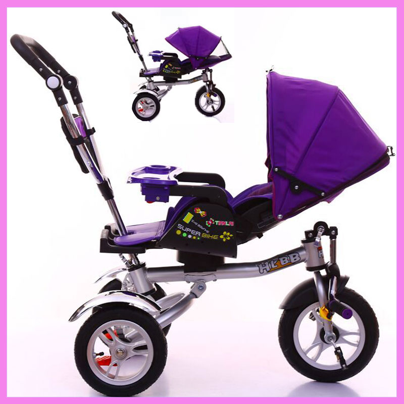 Child Tricycle Stroller Bicycle Lying Flat Trolley Folding Baby Carriage Three Wheels Travel Car Stroller Baby Stroller 3 In 1 new child tricycle 3 wheels baby stroller bike ride on cars kids bicycle prams and pushchairs baby stroller 3 in 1