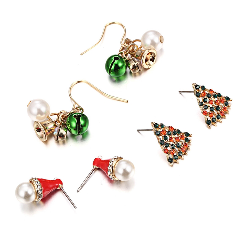 2019New Fashion 3 Pairs/Set  Women Christmas Earrings Crystal  Bell Hat Tree Ear Stud Dangle NEW Lovely
