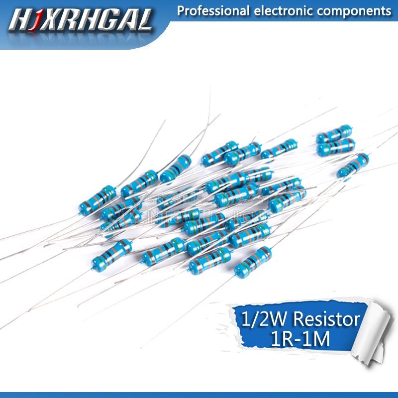 50pcs 1/2W Metal Film Resistor 1R~2.2M 100R 220R 330R 1K 1.5K 2.2K 3.3K 4.7K 10K 22K 47K 100K 100 220 330 1K5 2K2 3K3 4K7 Ohm